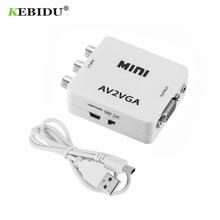 KEBIDU 미니 HD RCA CVBS AV VGA 비디오 컨버터 Conversor AV2VGA 비디오 컨버터 어댑터 3.5mm 오디오 PC HDTV 컨버터