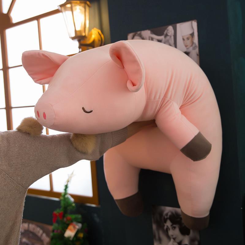 Almohada de cerdo de peluche suave de dibujos animados, almohada Kawaii de bebé para dormir, muñeca de algodón para niñas, juguetes de animales de felpa, Brinquedo