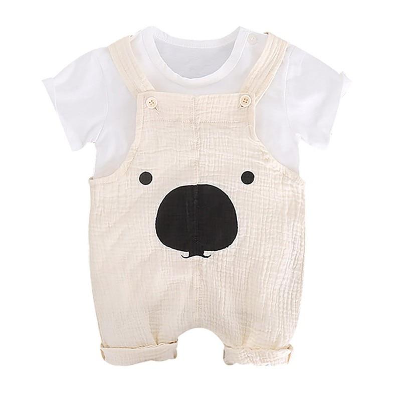 Conjunto de 3 piezas chico s verano niño chico trajes de niño bebé conjunto letra impresa de manga corta Camiseta + tirantes de dibujos animados pantalones cortos + bolsa