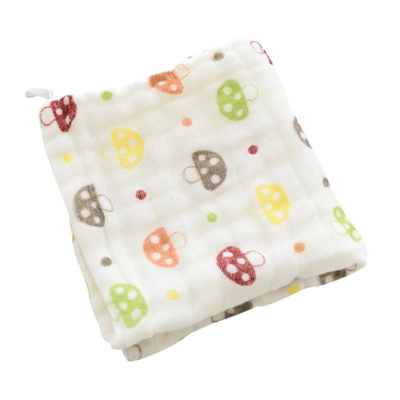 Manta de muselina para bebé, toalla para bebé, gasa de seis capas, Impresión de dibujos animados para niños, pañuelo pequeño de algodón, toalla para lavar a los niños
