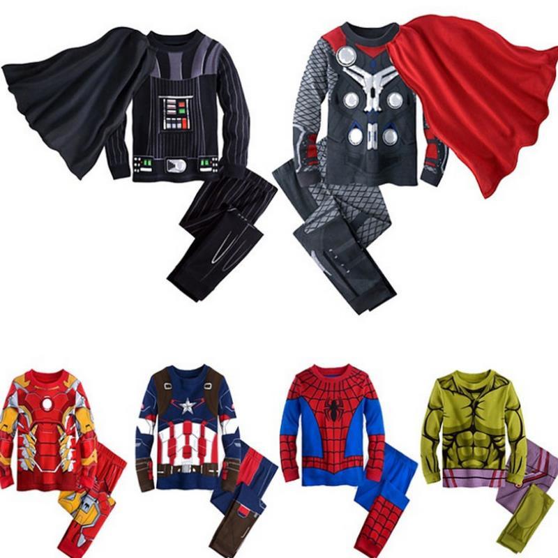 Пижамный костюм с длинными рукавами для мальчиков, костюм с героями мультфильмов «мстители», «Марвел», «Железный человек», «Капитан Америка», «Человек-паук», От 1 до 7 лет, 2019