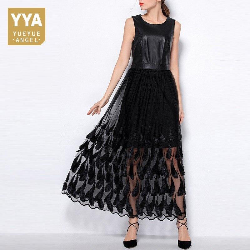 Pele de carneiro genuíno das mulheres de couro cintura alta gaze vestido renda retalhos sleeveelss ol robe primavera elegante moda pena vestido