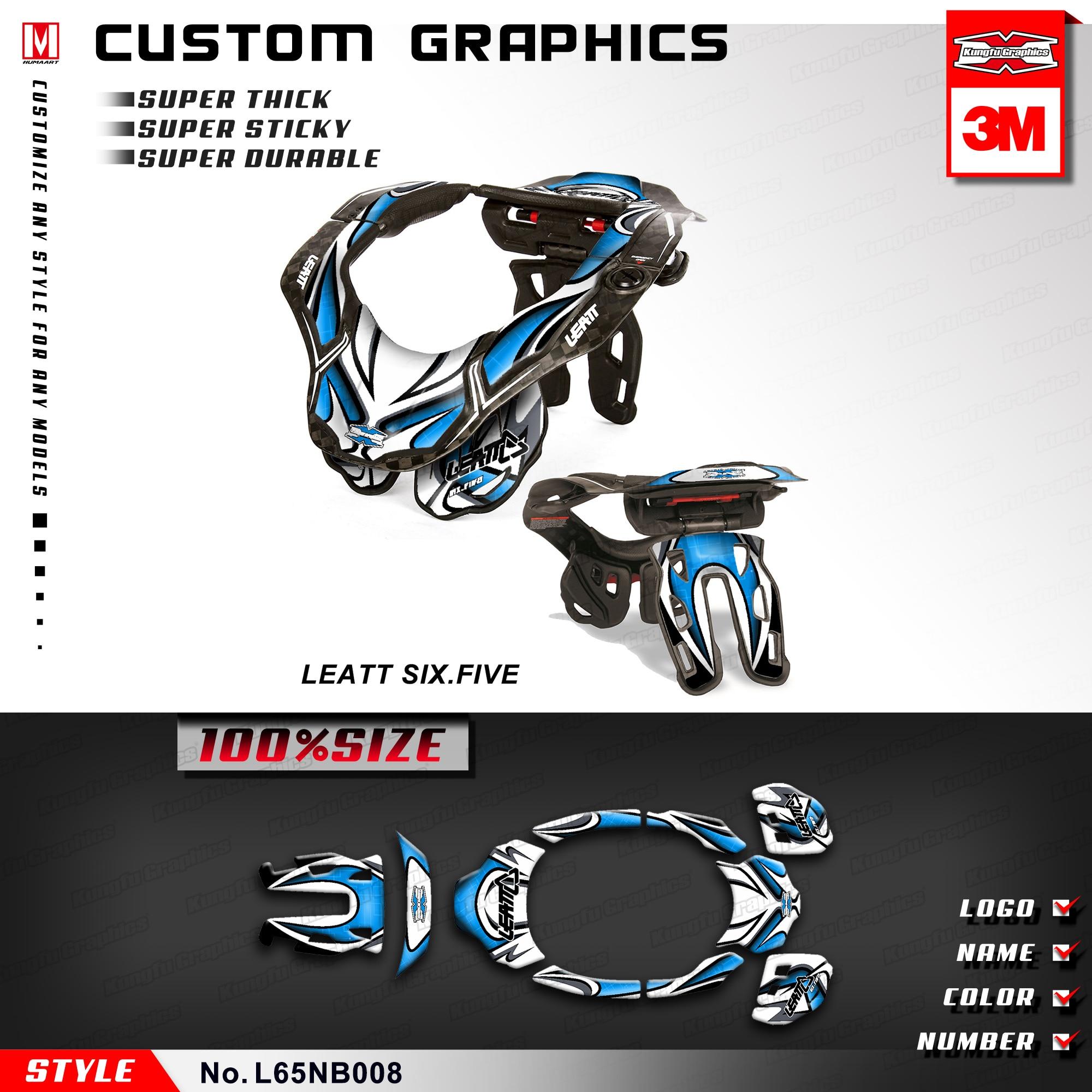 Adhesivos autoadhesivos para gráficos KUNGFU MX, calcomanías de Motocross para Leatt GPX 6,5, seis cinco cuellos, Azul, Blanco (estilo n° L65NB008)