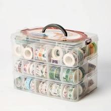 1 Pcs PP Multifunctionele 3 lagen 18 grids Washi tape opbergdoos transparant Tool Set box accessoires Handcarry briefpapier Houder
