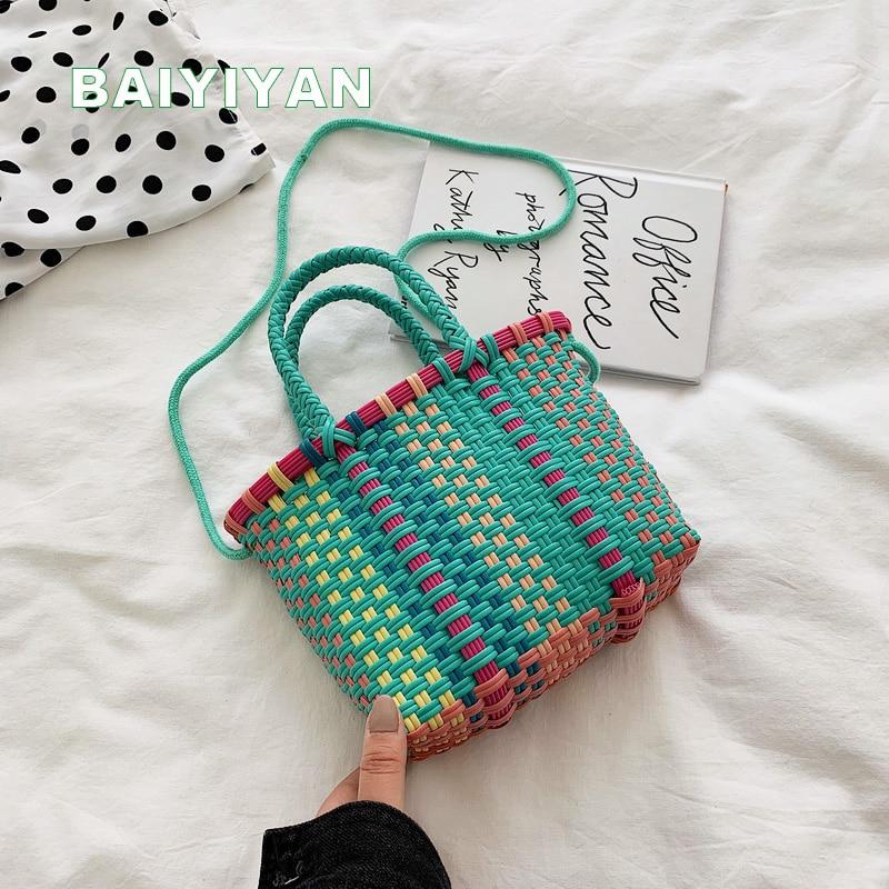 New Casual Women Beach Woven Tote Bag Vegetable Basket Handbag Ladies Personalized Shopping Bag Knitting Handbag