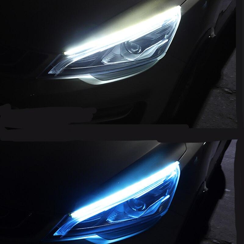 2 uds ultrafino flexible DC12V tira de luz LED dinámica streamer lámpara de coche para Peugeot 206, 207, 208, 301, 307, 308, 407, 2008, 3008, 4008