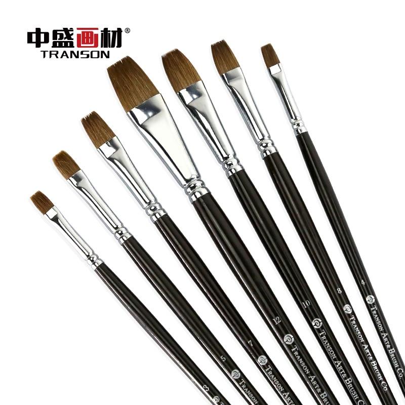 6 piezas Transon102 manija de madera negro filbert cepillo de cabello comadreja artista cepillo pintura cepillo