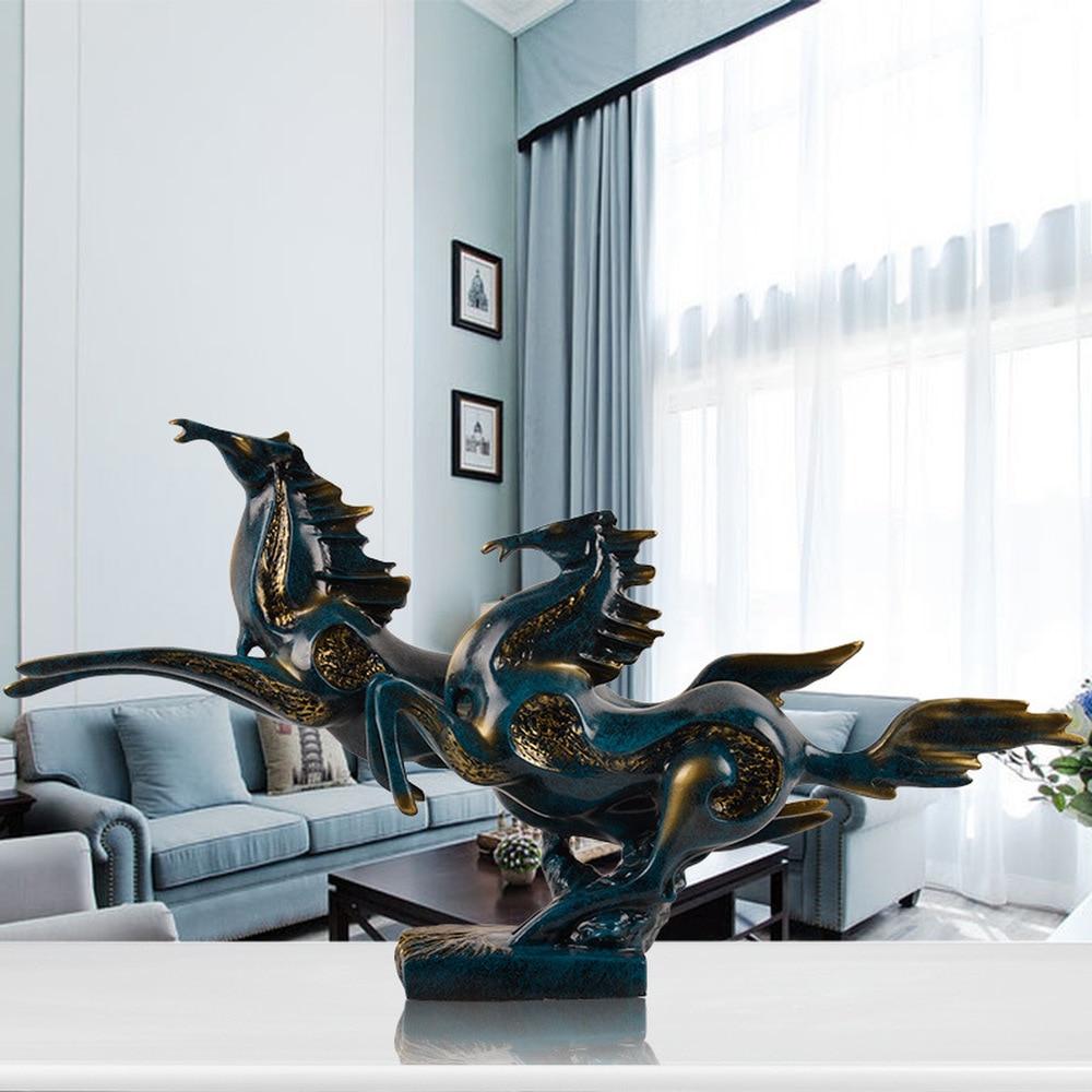 1PCS European retro home living room porch horse decoration office furniture resin handicrafts desktop displa LU605133