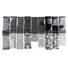 9 Stks/zak 4*120 Cm Nail Art Lijm Transfer Folie Wit Black Lace Nail Stickers Fashion Nail Tips Decals sterrenhemel Sticker