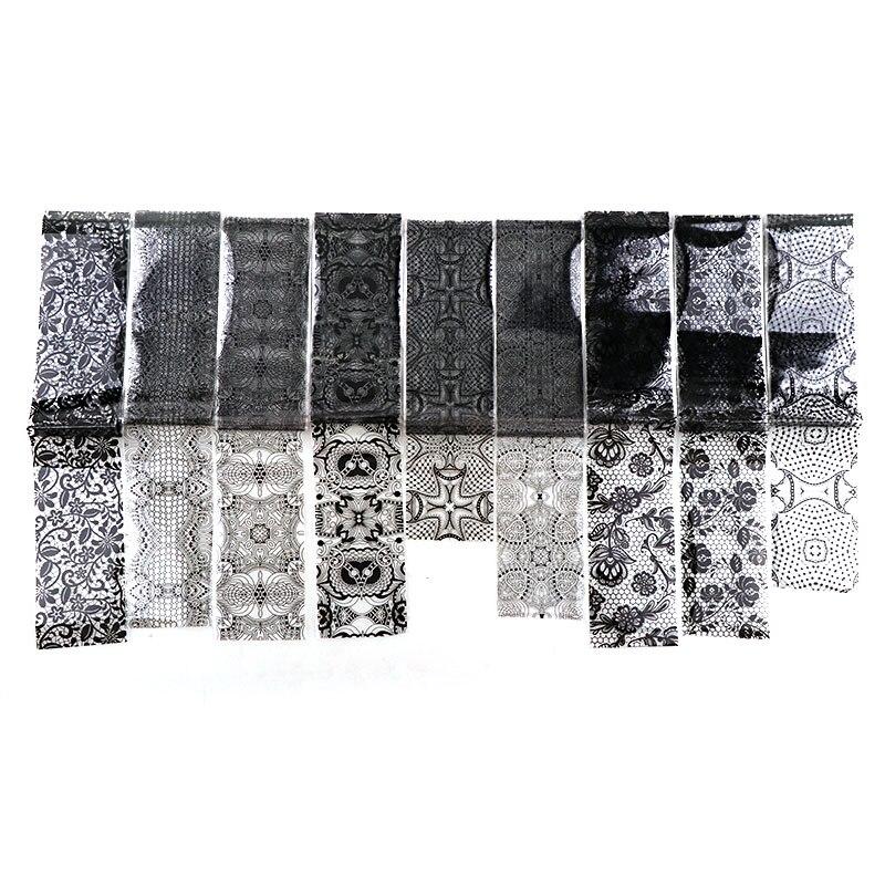 9 pcs/bag 4*120cm Nail Art Glue Transfer Foil White Black Lace Nail Stickers Fashion Nail Tips Decals Starry Sky Sticker