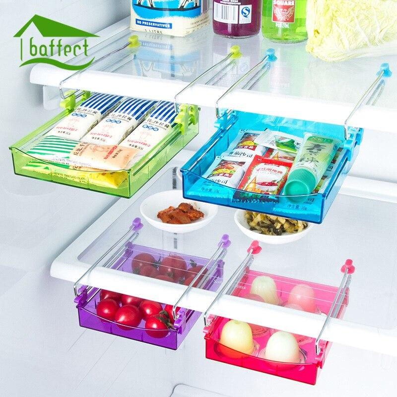 Tobogán para nevera, rastrillo de almacenamiento, congelador, cajas de almacenamiento de alimentos, despensa, organizador, contenedores, contenedor, ahorro de espacio, nevera, caja de almacenamiento