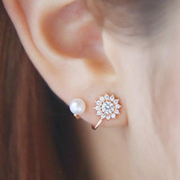 ¡Novedad de 2020! ¡venta al por mayor! Pendientes de diamantes de imitación con forma de copo de nieve y perlas para mujer