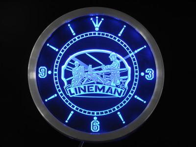 Nc0391 Lineman decoración Bar cerveza regalo neón letreros Reloj de pared led