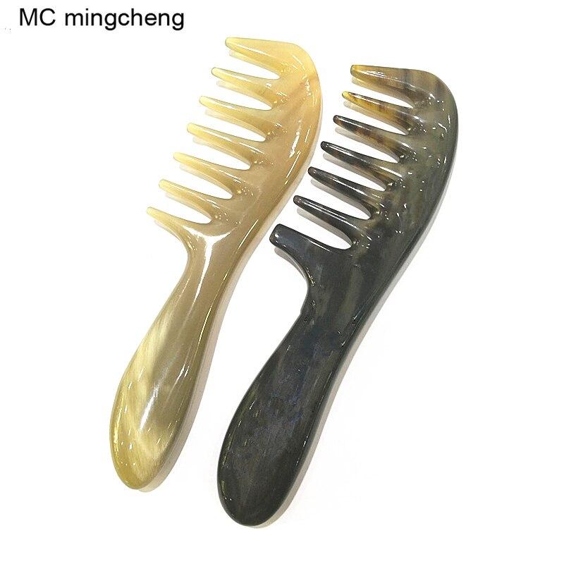 Mc pente quente desembaraçar escova de cabelo shujin massagem ativa pente natural chifre de iaque dente largo engrossar shampoo cabelo escova moldar ferramenta