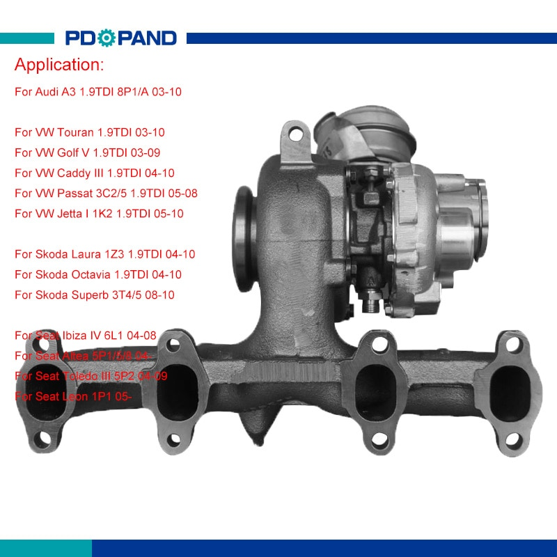 Motor turbo conjunto turbocompresor GT1646V 038253016K 038253016R 038253056E para VW Golf Touran Passat Jetta BXE BXJ AVQdiesel 1896cc