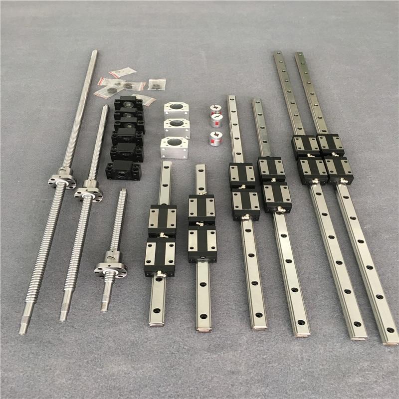 HGR20-مجموعة سكة التوجيه الخطية المربعة ، 6 قطع ، لولب كروي SFU1605/SFU1610 400/700/1000 BK/BK12 اقتران صمولة ، جزء cnc