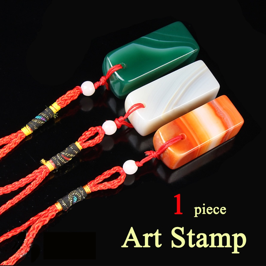 Chinese Traditional Green Seal Standard Stamps Stone Labels Indexes Stamps UnCarved Seal Badge Holder & Accessories
