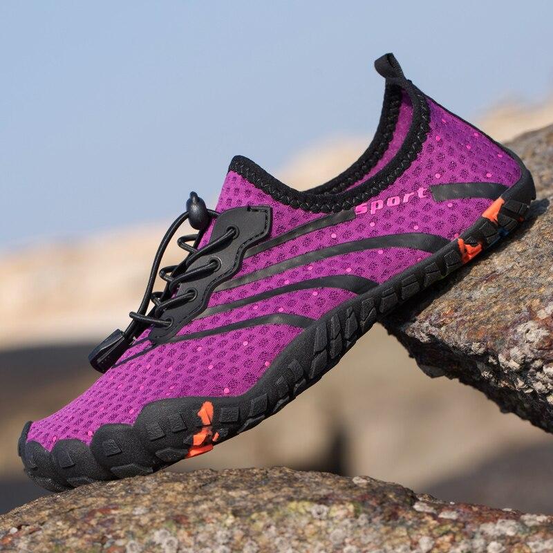 Zapatillas de agua de verano 2019 para hombre y mujer, zapatilla de playa, calzado deportivo para exteriores, gimnasio, Yoga, Fitness, zapatos de malla Aqua para hombre