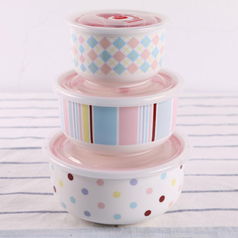 Bol de fideos de tres piezas sellado Circular Bento Cassette Cover Set de vajilla conservación comida fresca cerámica arco iris
