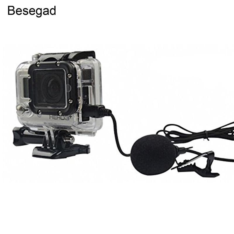 Besegad Mini USB Directional Mic Microphone with Collar Clip for Gopro Hero 3 3  4 Go Pro Hero3 Hero3  Hero4 Camera mikrofon