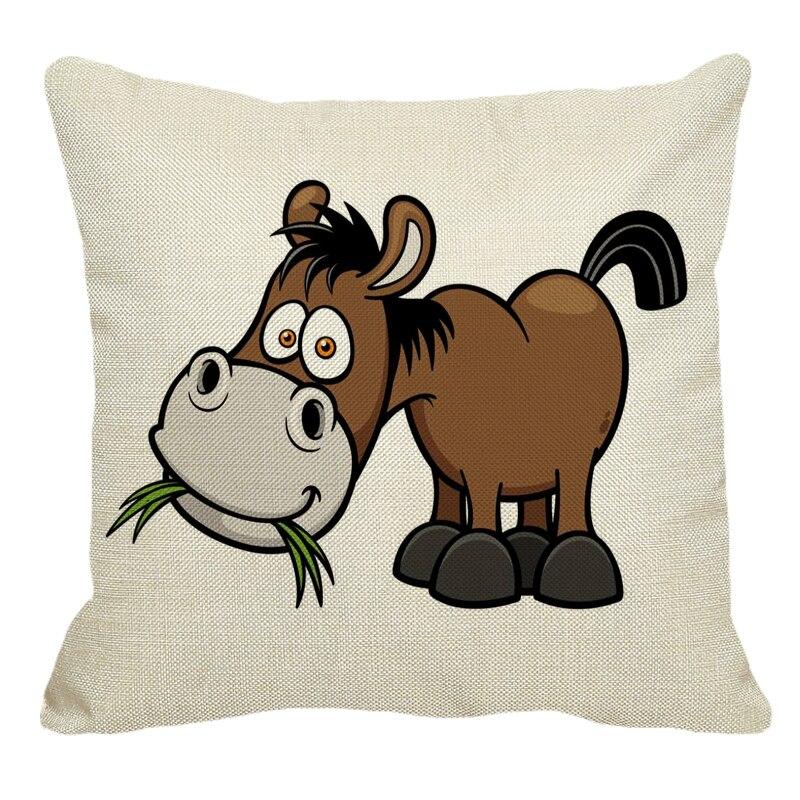 XUNYU funda de almohada de lino sofá funda de almohada decorativa patrón de dibujos animados Donkey funda de Cojín cuadrado 45X45 cm BZ231