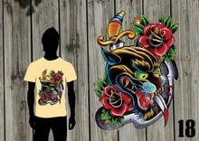 New Fashion Men Men Hip Hop 3D Print T-Shirt Panther Rose Sword Tattoo Old School- Nerd T Shirts