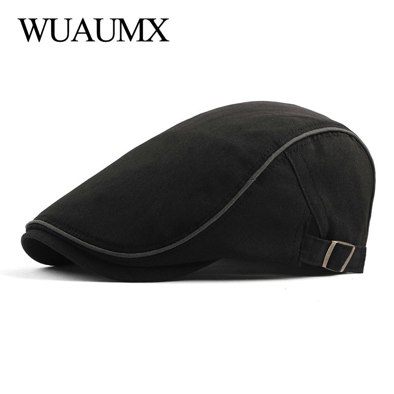 Wuaumx Spring Summer Berets Hat Men Breathable Newsboy Caps Sun Visors Men's Beret Caps Herringbone Flat Caps Adjustable Baret