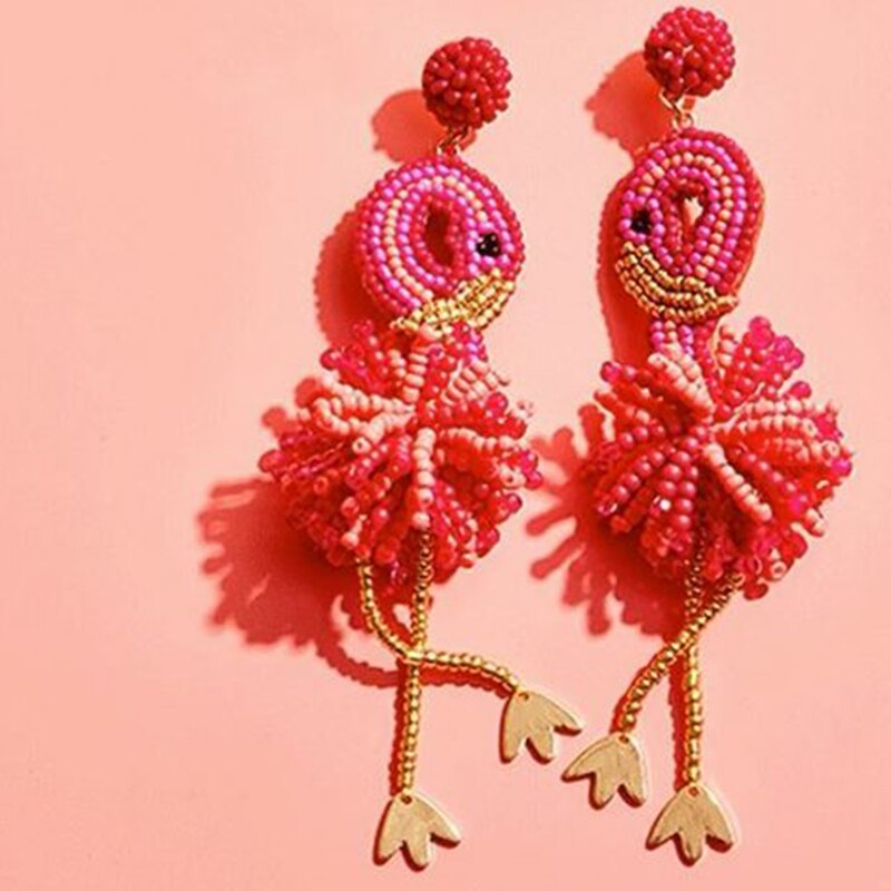 Dvacaman Boho New Red Fantasia Bird Beads Long Drop Earrings Women Wedding Gifts Fashion Resin Tassel Earrings Statement Jewelry