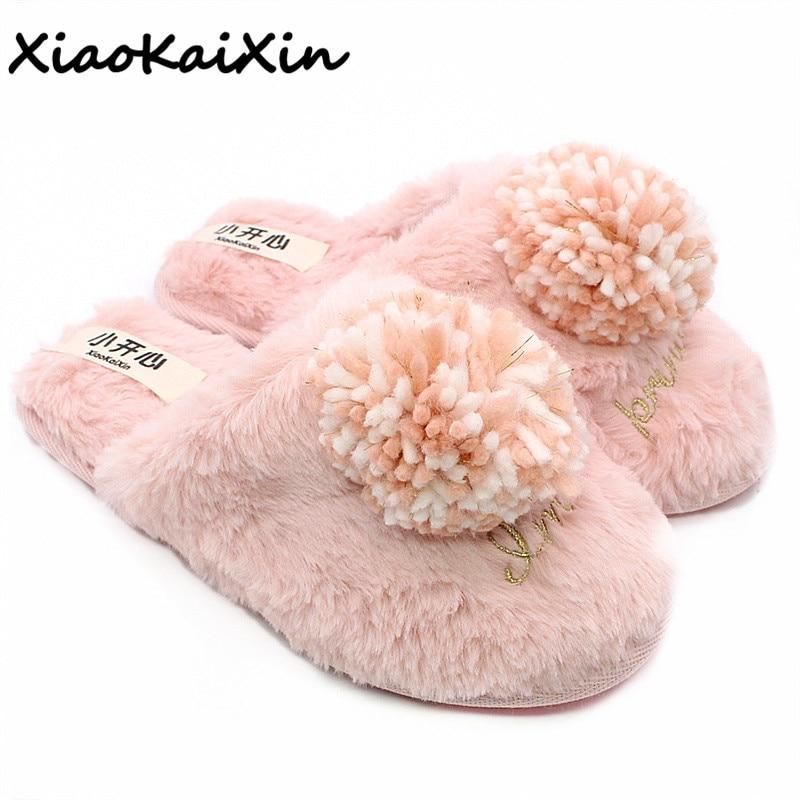 Zapatillas antideslizantes XiaoKaiXin para Otoño e Invierno 2018, zapatillas de mujer de piel sintética de conejo para interiores, zapatillas de mujer peludas de algodón