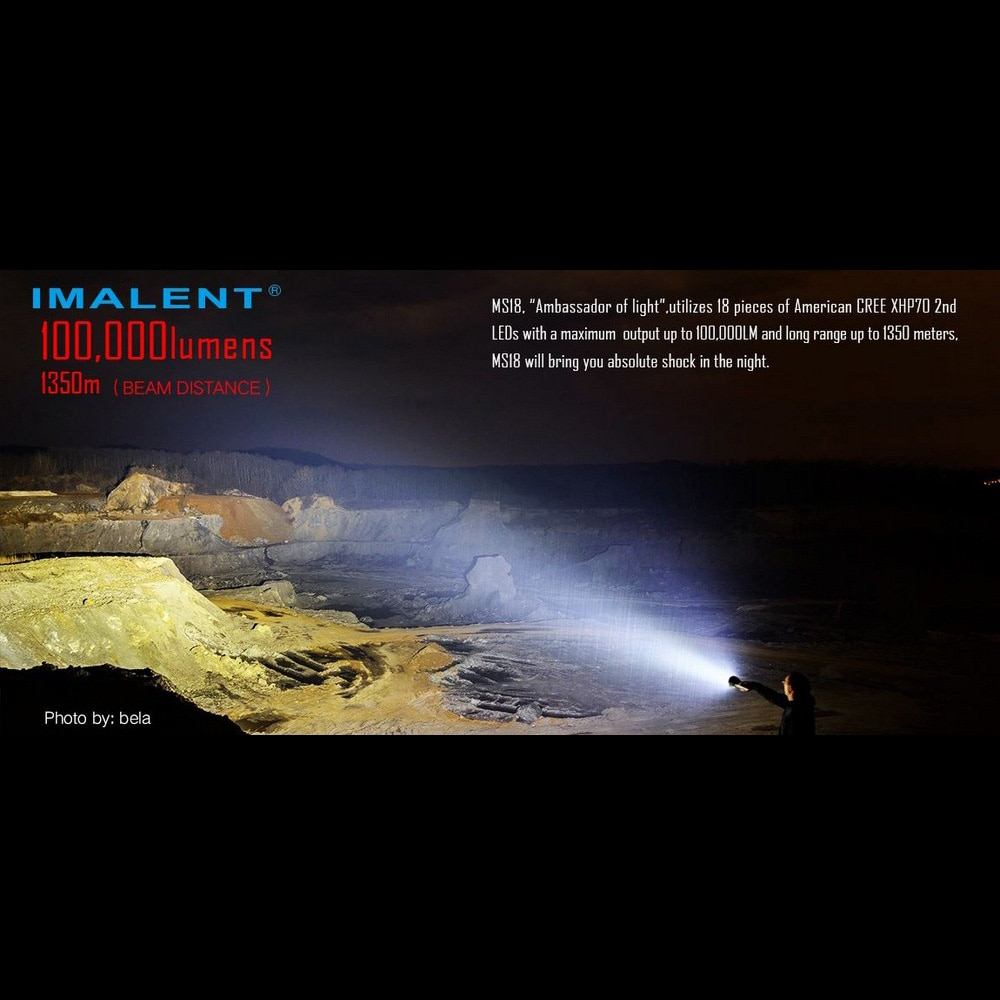 IMALENT MS18 LED Flashlight CREE XHP70 100000 LM Rechargeable Flashlight with Battery + OLED Display Intelligent Charging enlarge