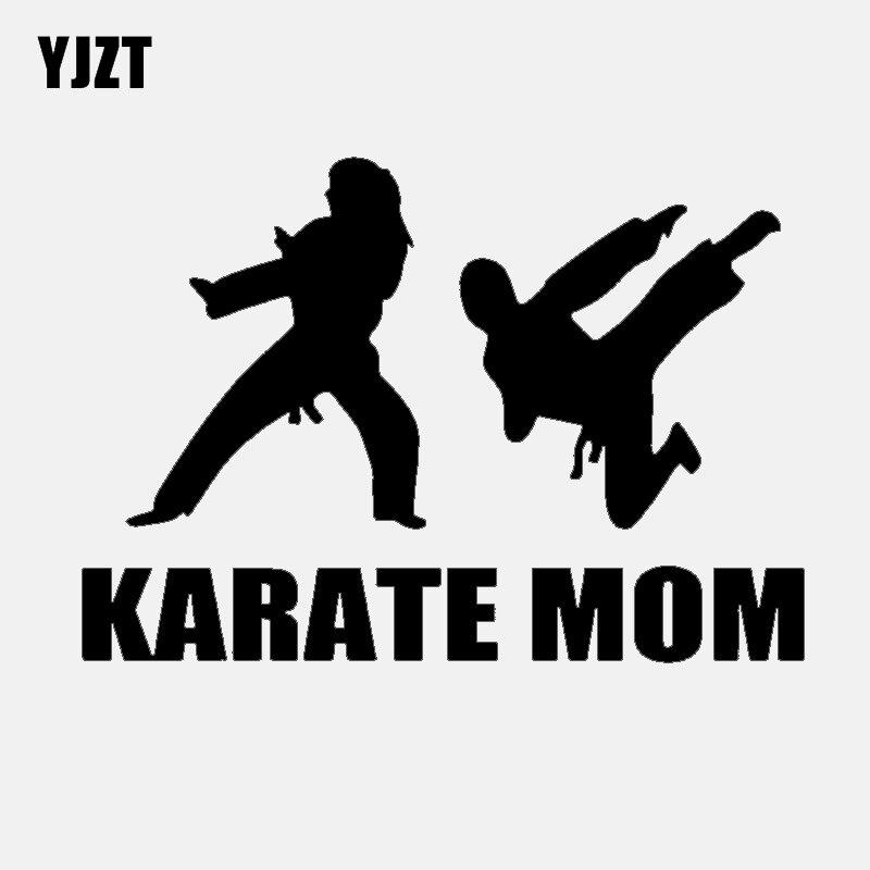 YJZT 14,8 CM * 10,2 CM interesante Karate Mom negro coche plateado pegatina vinilo Car-styling C11-1581