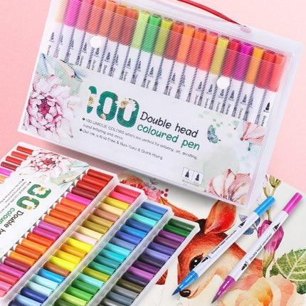 Bolígrafo resaltador de doble cabeza de 24/48/60/80/100 Uds colores para dibujar pintura acuarela rotuladores de arte pincel suministros escolares