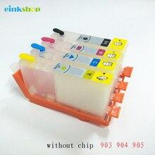 Einkshop 903XL 904 cartouche dencre rechargeable sans puce de remplacement pour HP 903 904 905 OfficeJet 6950 Pro 6960 imprimante
