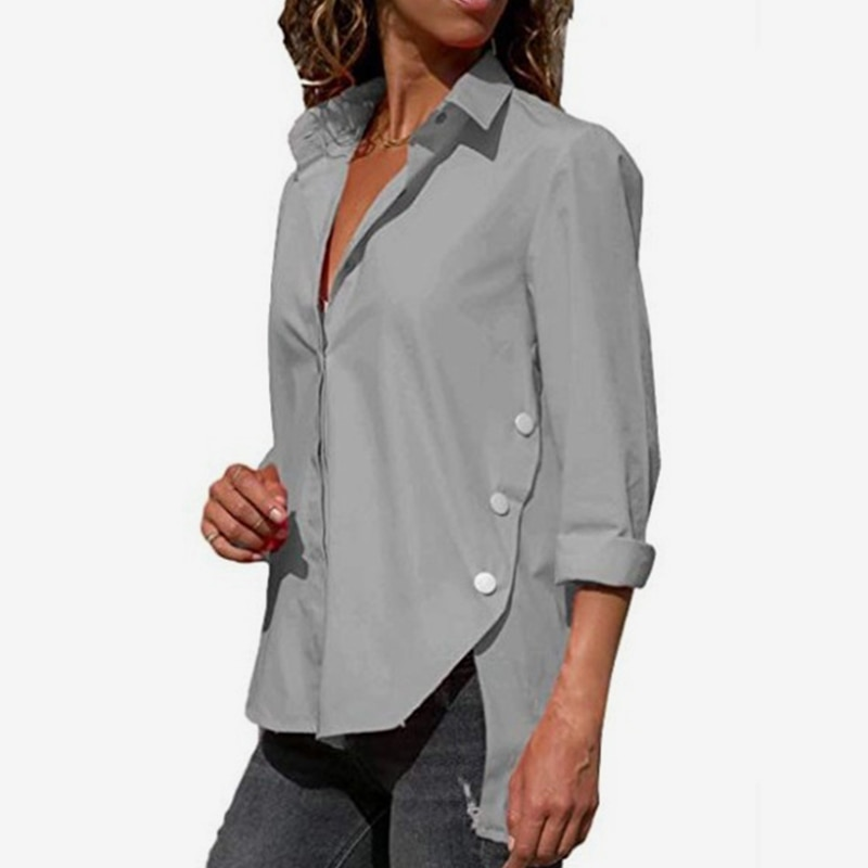 Plus Size 5XL Irregular Women's Office Shirt White Long Sleeve Turn-down Collar Female Blouse 2021 Spring Summer Lady Shirts Top