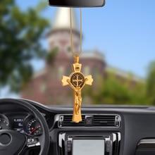 Colgante de automóvil, figura cristiana de Jesús crucifijo, colgante para coche, decoración de punto de cruz con espejo retrovisor, adornos de suspensión