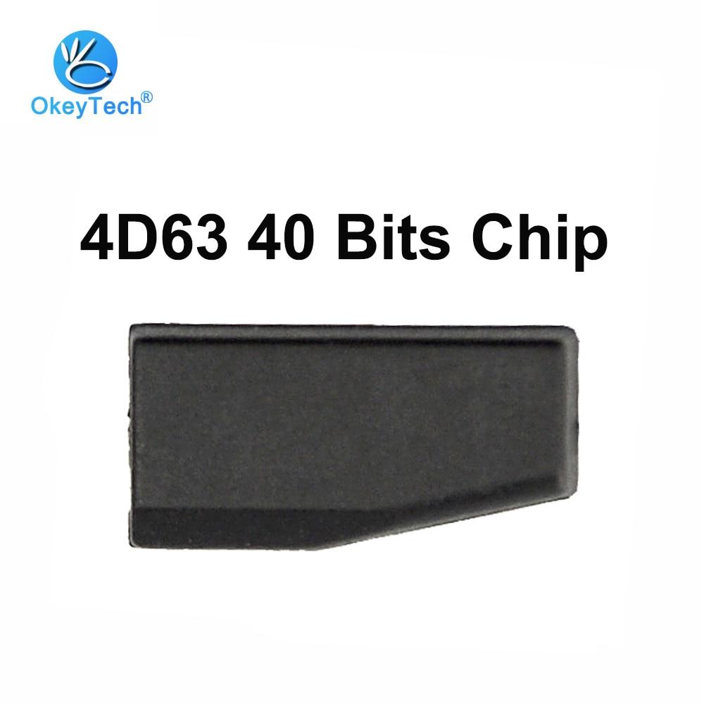 Okeytech transponder chip 4d63 40 bits chip id83 4d 63 ceremic carro chave em branco chips de carbono para ford focus fiesta para mazda