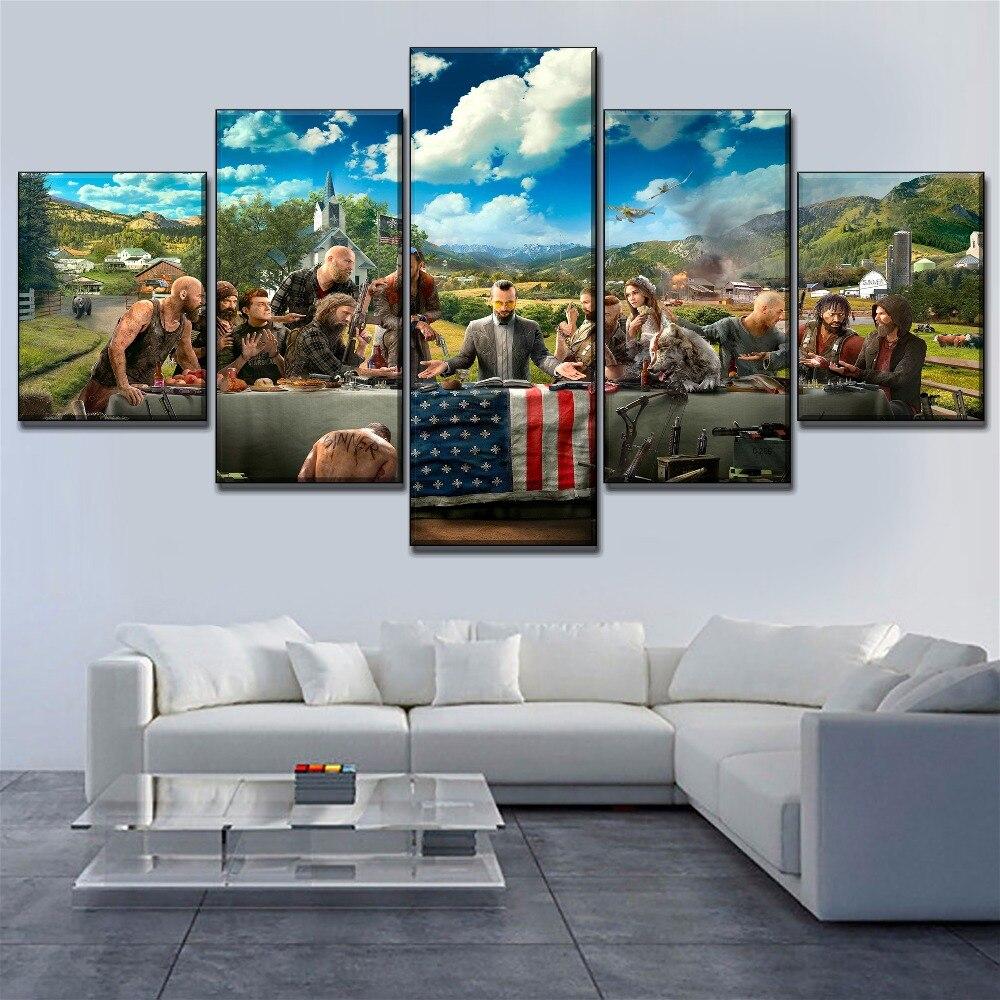 Marco de arte de pared lienzo carteles 5 piezas Juego Far Cry 5 pinturas clave para sala de estar moderna HD imprimir cuadro decorativo para el hogar