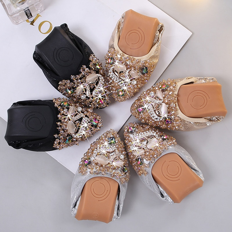 Plus Size33-45 Designer Crystal Woman Flat Shoes Elegant Comfortable Lady Fashion Rhinestone Women Soft Shoes