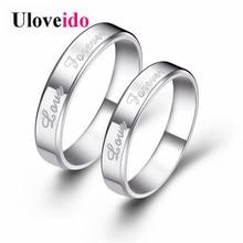 Uloveido 2 sztuk romantyczny ślub pierścionki dla zakochanych para pierścionki zaręczynowe biżuteria Wedding Band dla Fropshipping J014