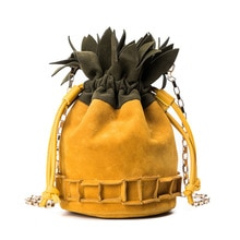 Bolso bandolera de invierno 2018 para mujer, bolso de piña, bolso de hombro de cuero Pu de gamuza para mujer, Mini bolso de fruta para mujer