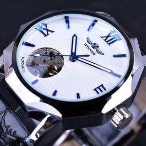 WINNER Automatic Mechanical Watch Men Fashion Multilateral Bezel Skeleton Dial Sport Clock Male Top Brand Luxury Men's Watches
