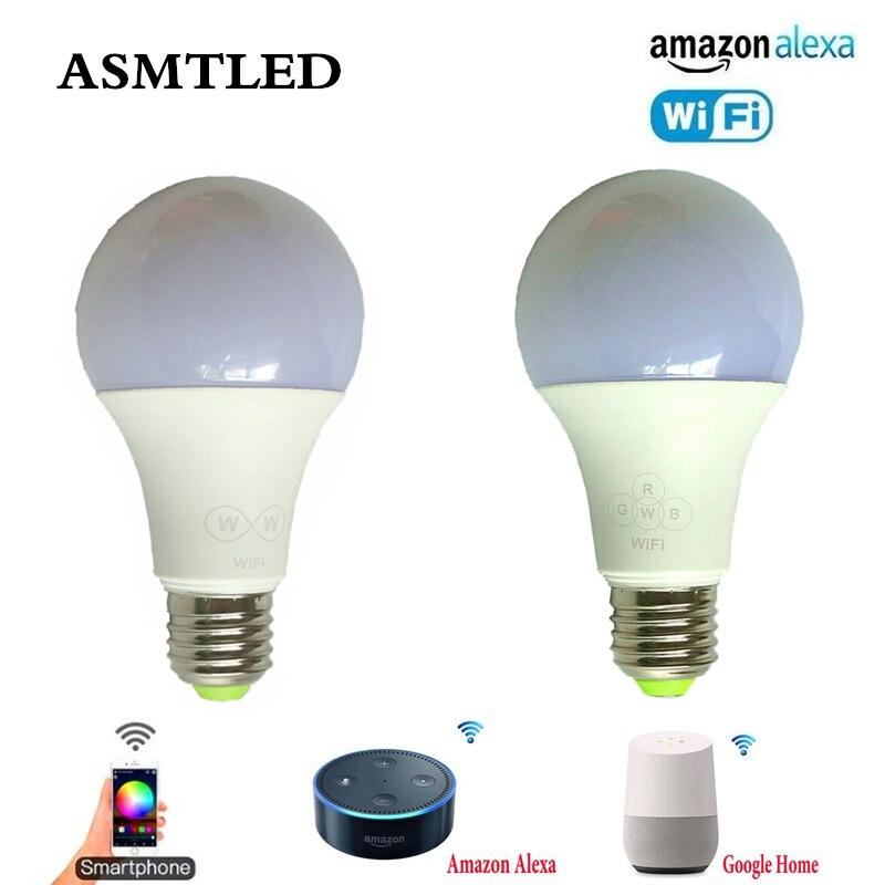 AC 110V 220V 6,5 W E27 WiFi inteligente bombilla LED bombilla regulable CW WW RGB RGBW RGBWW RGB + AAC luz LED para lámpara para Amazon Asistente de Google Alexa
