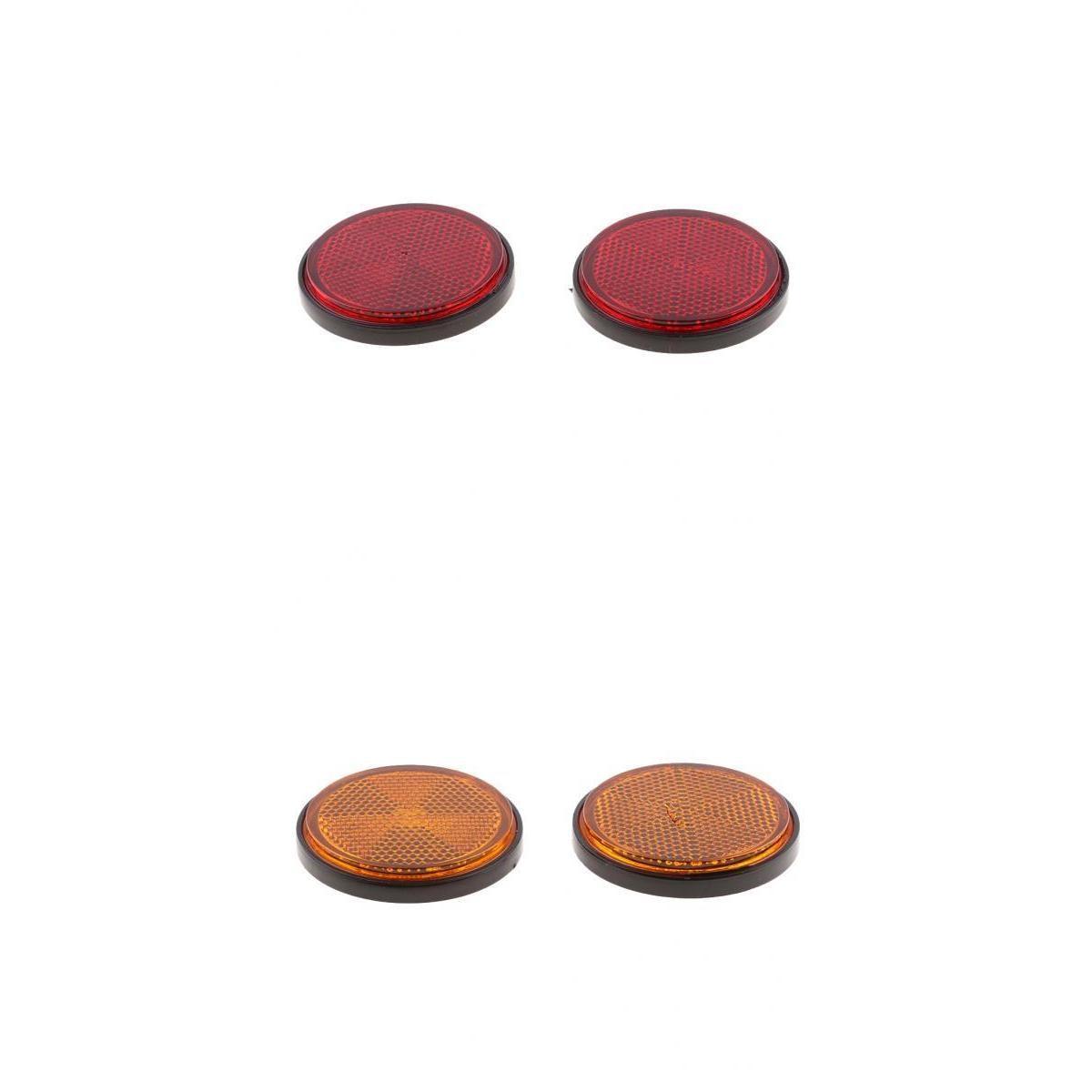 2 Pair  Red/Orange Universal Plastic Round Reflectors For Motorcycles Motor ATV Bikes Dirt Bike Motorcycle Accessories