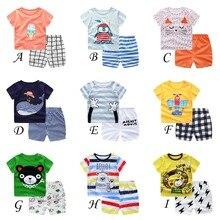 100% baumwolle kinder Setzt Säugling Kinder Jungen Kleidung Kinder Kleidung Sets Sommer Baby Mädchen Kleidung Nette Tier T- hemd + Shorts
