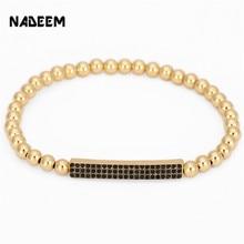 NADEEM Hot Sale Micro Pave CZ Crystal Bar Charm Bracelet Women Men Handmade Fashion Brand 5mm Copper Bead Elastic Girl Bracelets