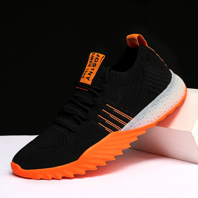 BIGFIRSE Zapatos de moda para hombre tendencia Air Mesh Lace-up hombre zapatillas 2019 tendencia calcetines Zapatos hombres transpirables zapatos casuales zapatos