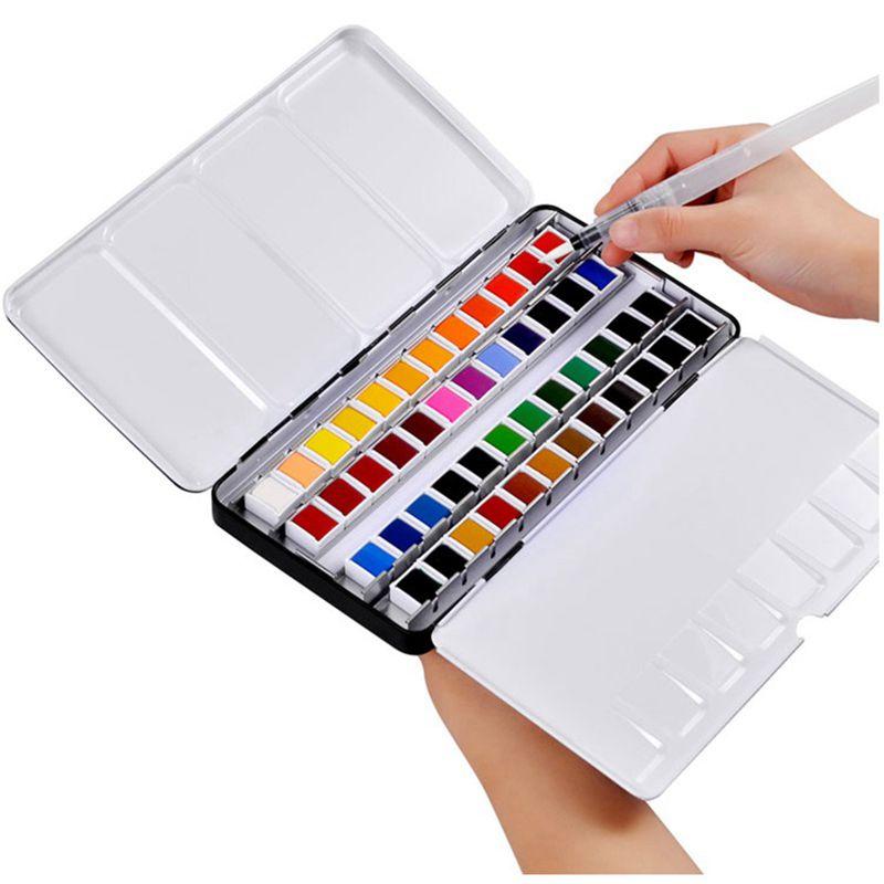 Juego de Acuarelas con pincel, 12/24/36/48 colores, pigmento de color agua, suministros...