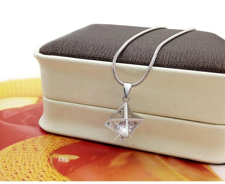 "Collar Merkaba de plata 3-D Merkaba colgante sagrado geometría Estrella Tetraedro colgante collar mujer 18"""