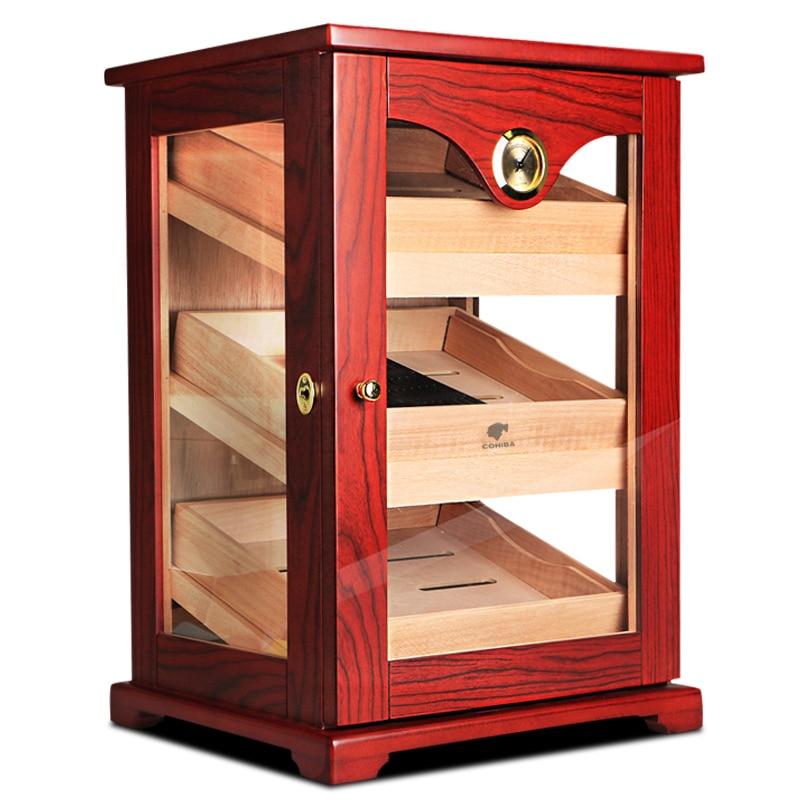 Акционная цена! Шкаф для сигары COHIBA, глянцевый, из дерева, с гигрометром, с 3 ящиками, увлажнитель с гигрометром