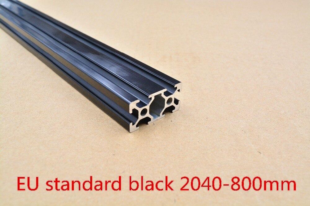 Perfil de extrusión de aluminio 2040 perfil europeo estándar negro largo 800mm perfil de aluminio de extrusión 1 Uds